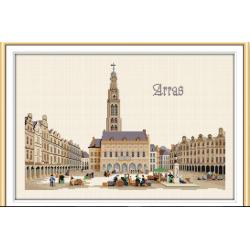 Kit de broderie point de croix : la Grand place d'Arras