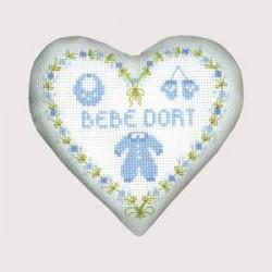 Le Bonheur des Dames - Boîte coeur bébé bleu présentation cadeau