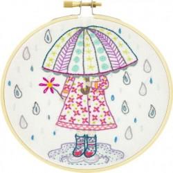 Emilie aime la pluie - kit à broder