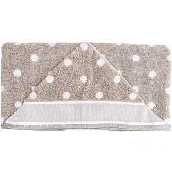Rico Design -  Sortie de bain avec capuche beige à pois blancs