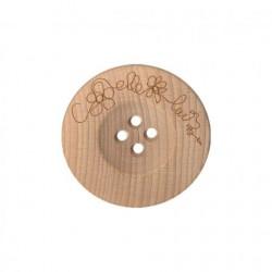 Bouton fantaisie en bois gravé