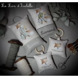 """Le Lin d'Isabelle - coussin de porte et hochet """"renard"""""""