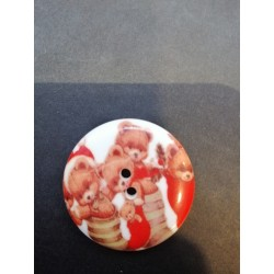 bouton de Noël plat 4 cm