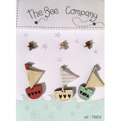 """The Bee Company : boutons """" voiliers & étoiles"""""""