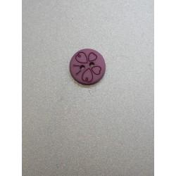 Boutons rond violet papillon  à 2 trous