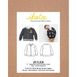 Ikatee : Pochette patron de couture Jules  Sweat à zip enfant mixte. 3-12 ans