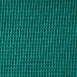 Tissu éponge en nid d'abeille bio bleu paon