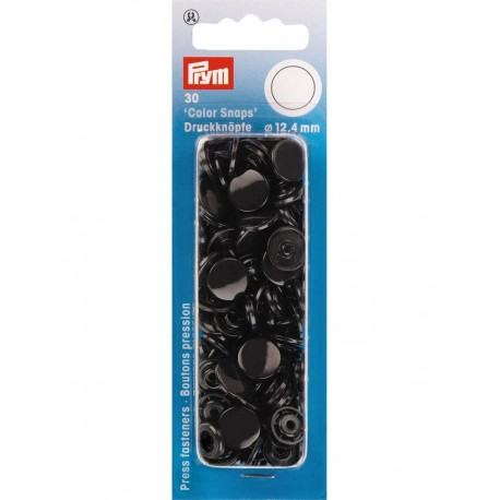 Prym : Boutons pressions color snaps noirs 12.4mm
