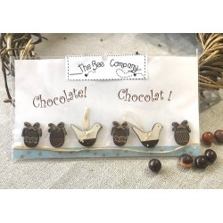 The Bee Company : Boutons - Oeufs et oiseaux chocolat