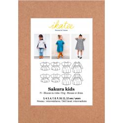 Ikatee : Pochette patron de couture SAKURA Kids Blouse et Robe 3-12