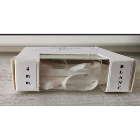 Au ver à soie : ruban de soie coloris blanc 4 mm