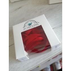 Au ver à soie : ruban de soie coloris rouge  7 mm