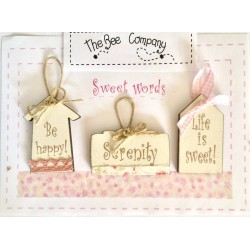 """The Bee company -Boutons mini étiquettes """"Sweet words"""""""