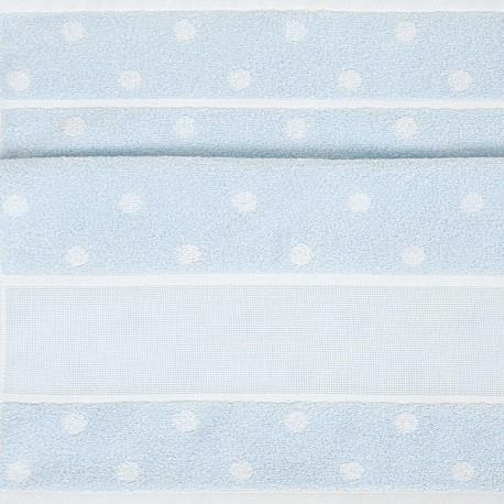 Rico Design - Serviette de toilette Bleu ciel à  pois à broder au point de croix